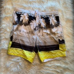 Wave Zone Swim Trunks Black White Tropical Yellow
